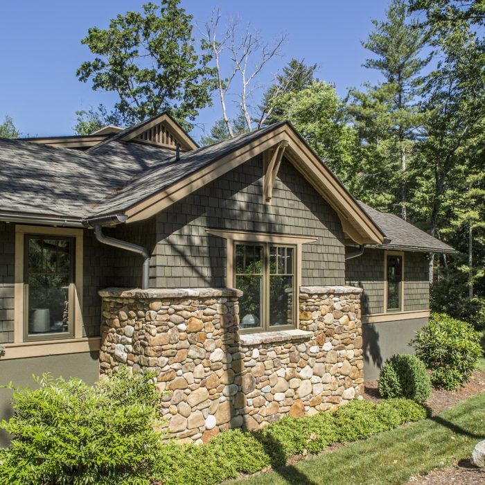 Custom River Rock Shake And Beam Home By Tyner Construction