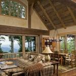Custom home timber and stone living room