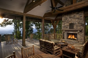 Timber & Stone custom home covered porch