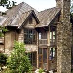 custom home timber stone