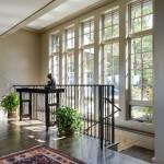 Interior metal stairwell railings windows
